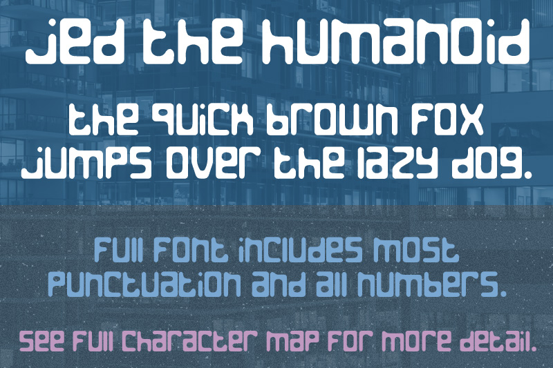 Jed the Humanoid font sample