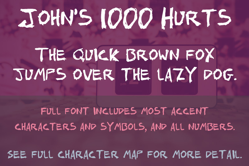 Johns 1000 Hurts font sample