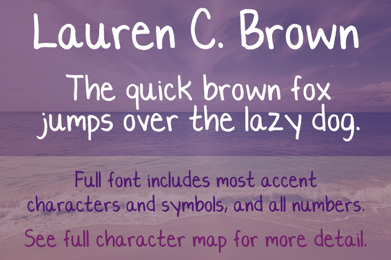 Lauren C Brown font sample
