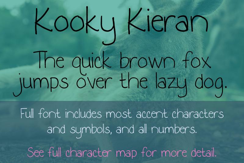 Kooky Kieran font sample