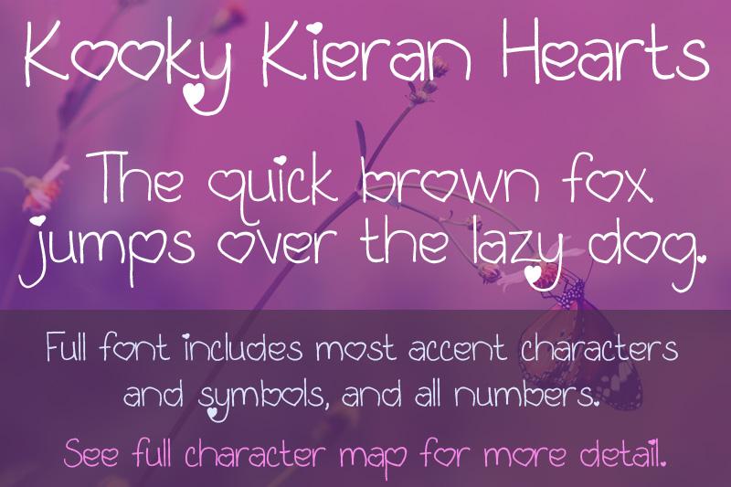 Kooky Kieran Hearts font sample