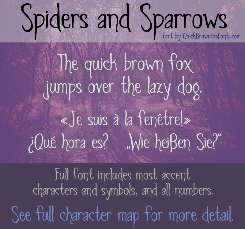 Spiders and Sparrows font sample