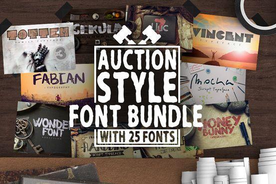 Auction Style 25 Font Bundle